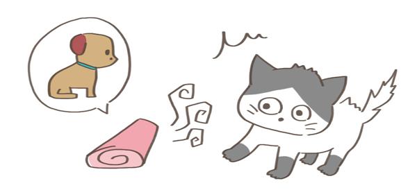 興奮している猫のイラスト