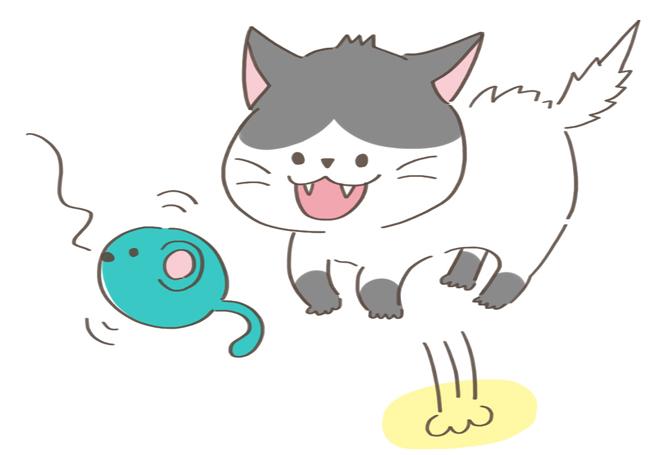 無性に遊びたがっている猫のイラスト