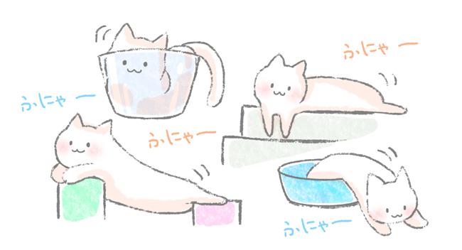 猫のかわいい特徴のひとつ、柔らかい身体のイラスト