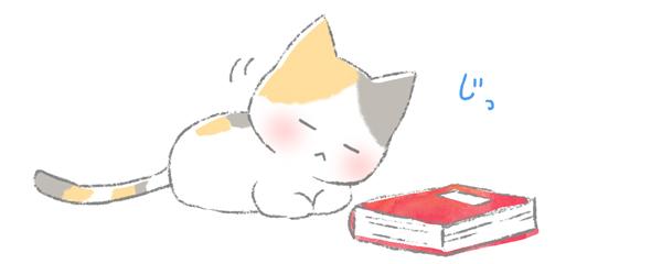 物を観察して首をかしげている猫のイラスト