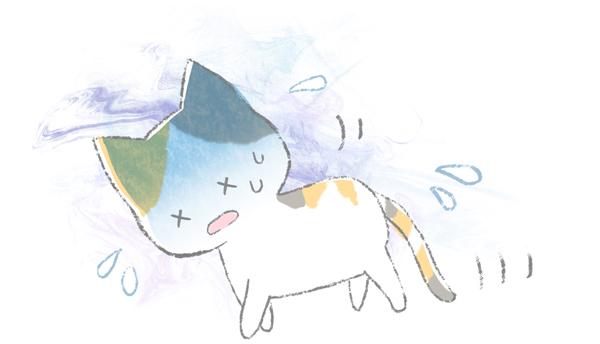 病気で首をかしげている猫のイラスト