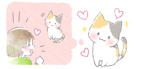 首をかしげて飼い主に喜んでもらいたい猫のイラスト