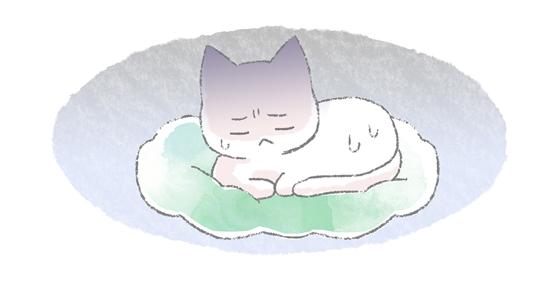 病気でイライラする猫のイラスト