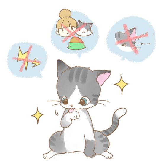 猫の毛づくろいのイラスト