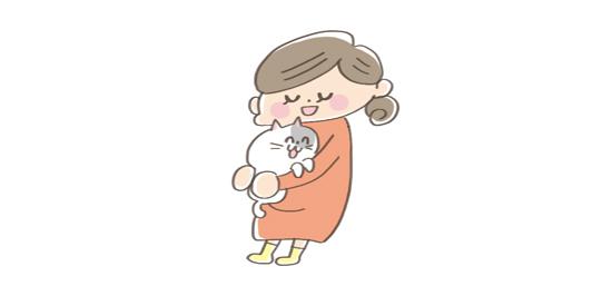 猫と妊婦のイラスト