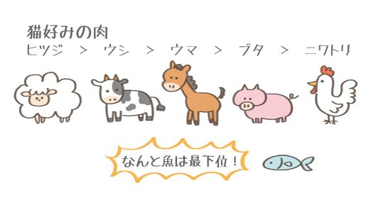 猫が好きな肉の種類のイラスト