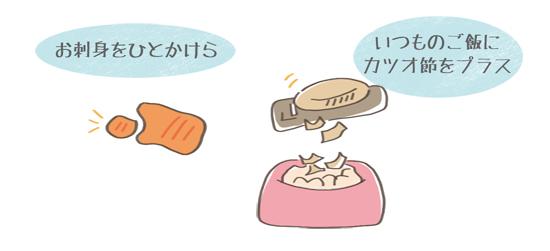 魚をご飯に加えるときの具体例のイラスト