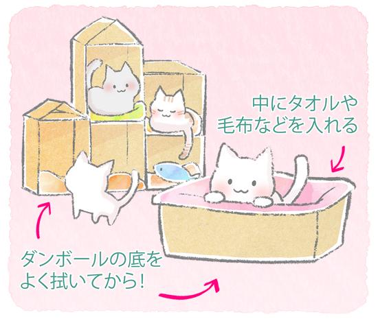 段ボール猫ベッドのイラスト