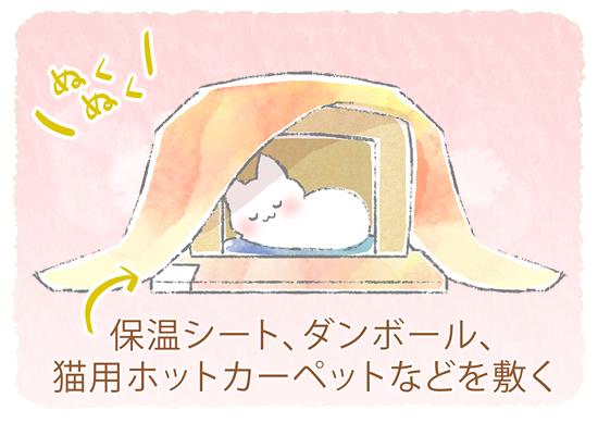 段ボール猫こたつのイラスト