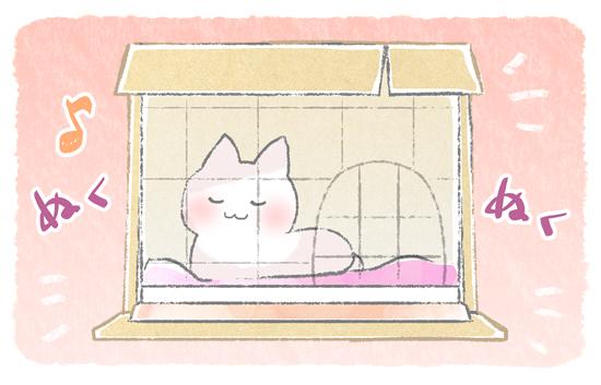段ボールの猫ケージの保温イラスト
