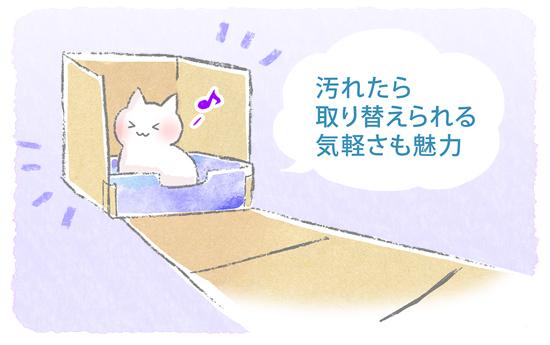 段ボールの猫トイレ活用イラスト