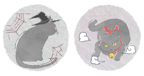 海外と日本の不吉な黒猫のイメージイラスト