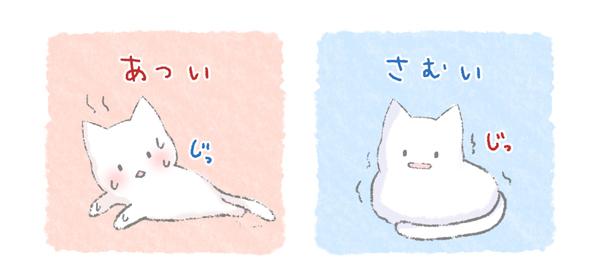 暑くて、あるいは寒くて目を合わせる猫のイラスト