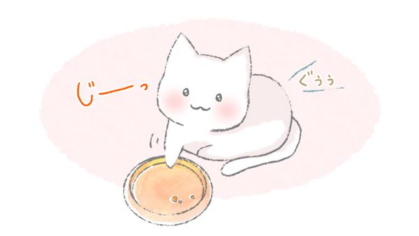 おなかがすいたと目を合わせる猫のイラスト