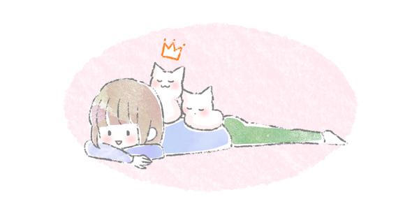 飼い主の背中に乗って寝る猫のイラスト
