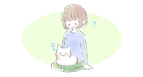 飼い主の上にのり何も考えずぼーっとしている猫のイラスト
