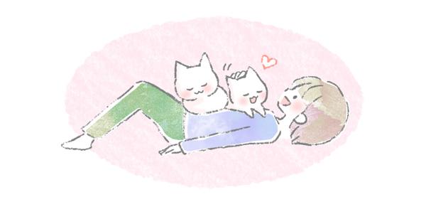 飼い主の、お腹に乗って寝る猫のイラスト