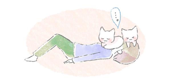 飼い主の顔や頭に乗って寝る猫のイラスト