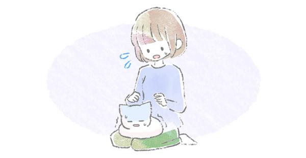 体調が悪い猫が飼い主の上にのっているイラスト