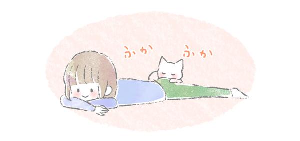 飼い主のお尻に乗って寝る猫のイラスト