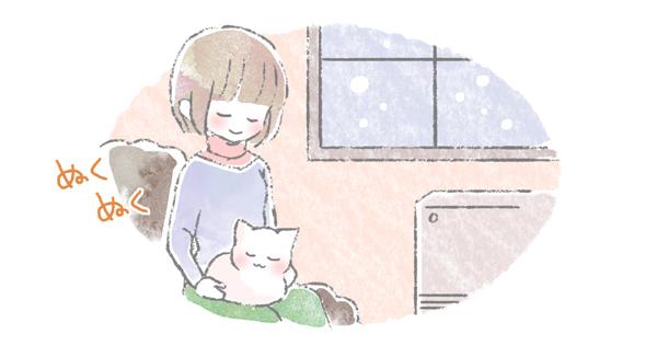 飼い主のうえに乗って暖を取っている猫のイラスト