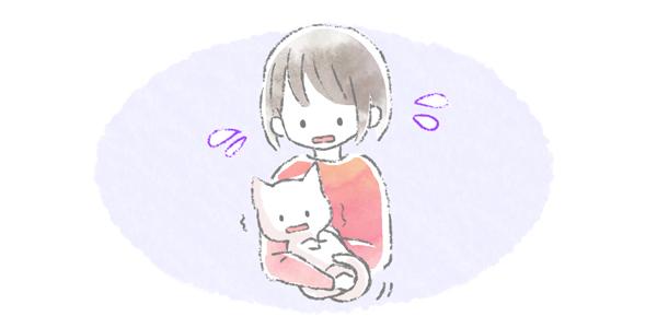 抱っこされて怖がっている猫のイラスト