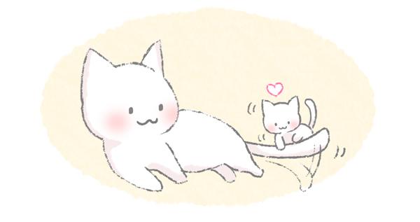 子猫をあやしてしっぽを動かす猫のイラスト
