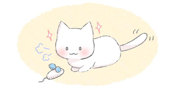 小刻みにしっぽを動かす猫のイラスト