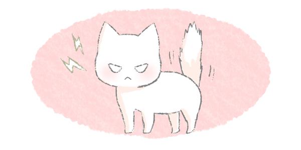 しっぽを逆立てる猫のイラスト