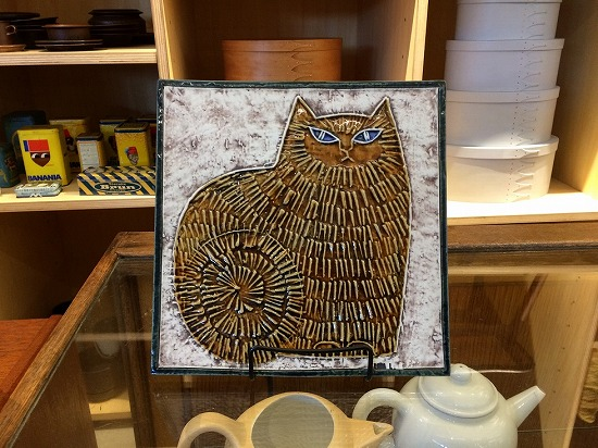 猫の陶器板