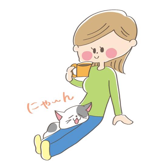 飼い主さんの足にあごのせする猫のイラスト