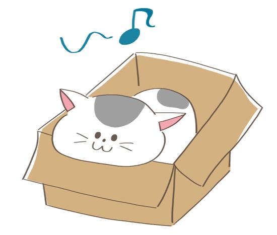 箱のふちにあごのせする猫のイラスト
