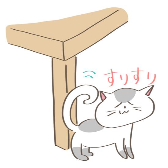 柱にフェイシャルフェロモンでマーキングする猫のイラスト