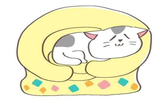 ペットベッドにあごのせする猫のイラスト
