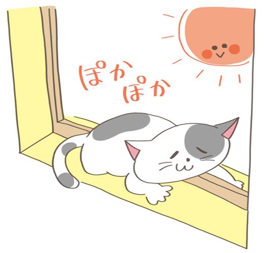 窓にあごのせする猫のイラスト
