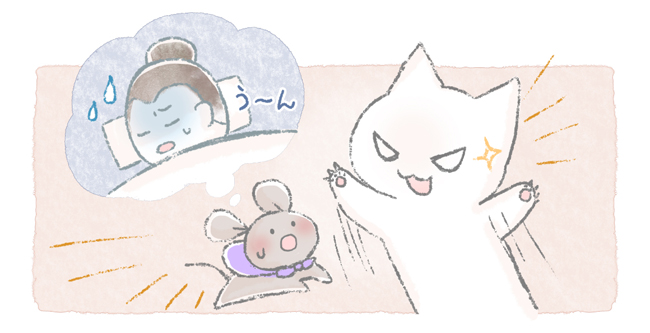 ネズミを襲う猫のイラスト