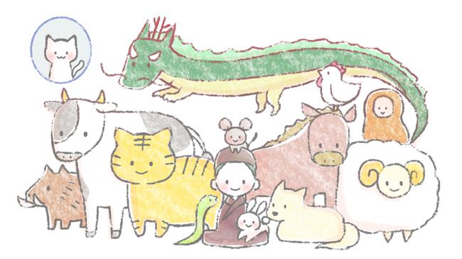 中国で身近な動物たちと、猫のイラスト