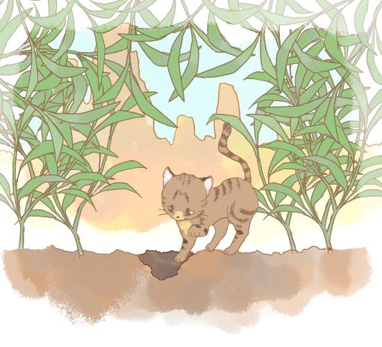 フンを隠す猫のイラスト
