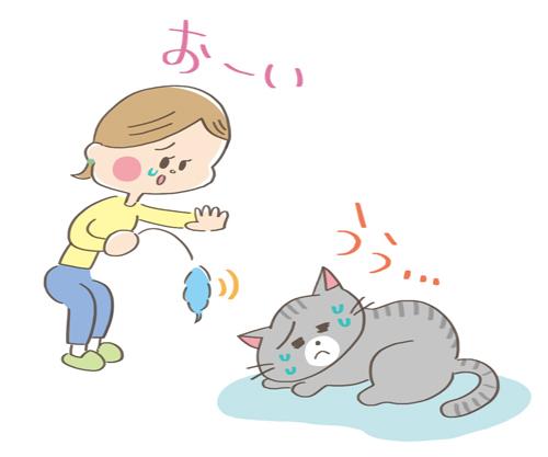 元気がなくておもちゃに反応しない猫のイラスト