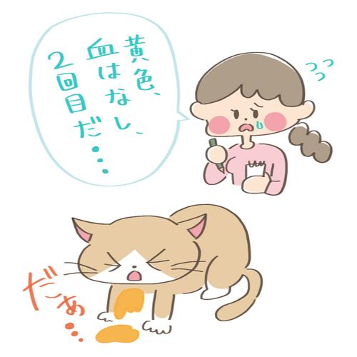 元気がなくて嘔吐する猫のイラスト