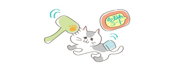 猫の匂い対処法、グルーミングを手伝ってあげるイラスト