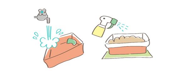 猫の匂い対処法、トイレをきれいに保つイラスト