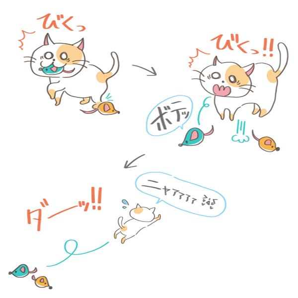 猫のびっくりエピソード4のイラスト