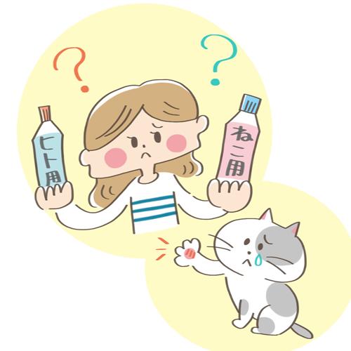 人間用と猫用の薬を選ぶ飼い主のイラスト