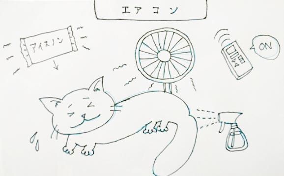 熱中症の猫の応急処置イラスト