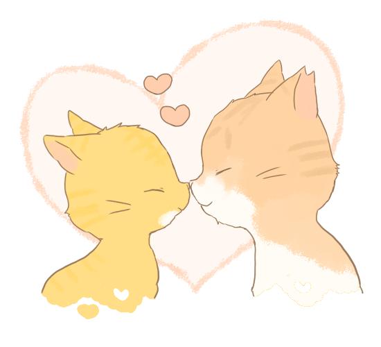 猫同士の鼻キスのイラスト