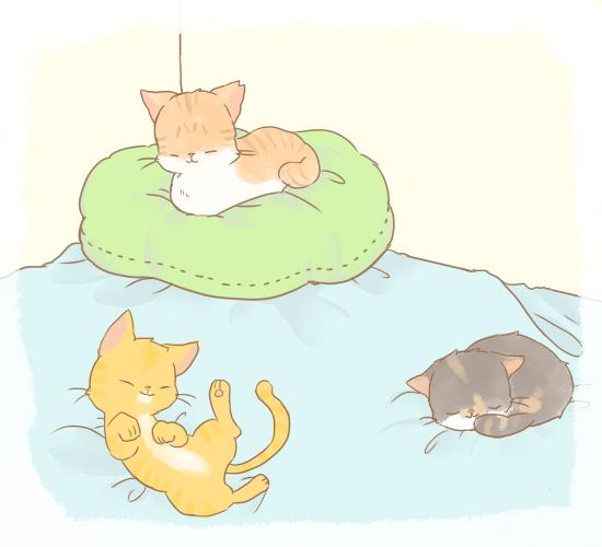 リラックスしてくつろぐ猫たちのイラスト