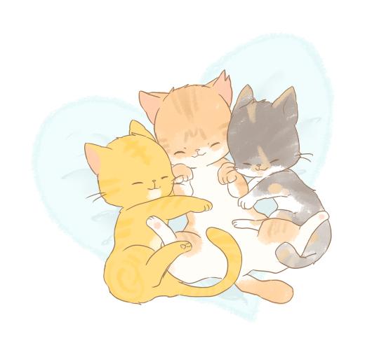 寄り添って眠る猫たちのイラスト