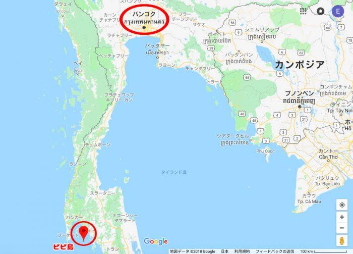 ピピ島までの道のり地図