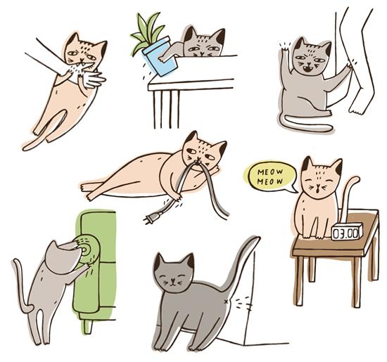 猫のトラブルのイラスト